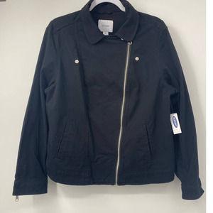 Old Navy Twill Black Moto Jacket - NEW - Size: XL